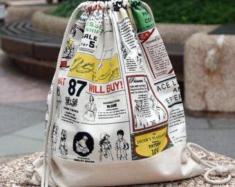 Drawstring backpack/ Cotton backpack/ Drawstring bag/ handmade backpack/ Gym bag/ Swim bag  ~  Newspaper (B84)