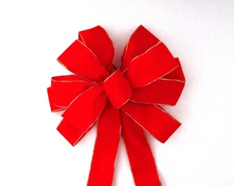 OUTDOOR BOW / Waterproof Bow / 3 Shades of Red Velvet / Cranberry Velvet