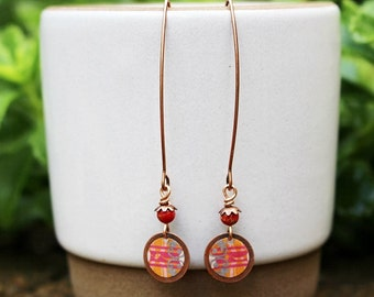 Orange Mixed Media Earrings, Mixed Media Jewelry, Pink Beaded Earrings, Gemstone, Long Bohemian, Mixed Metal Earrings