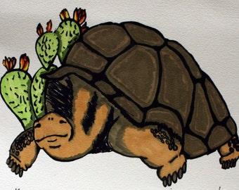 Handcolored Screen Print - Giant Tortoise