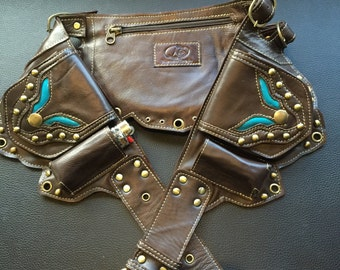 Teal and brown leather utility belt
