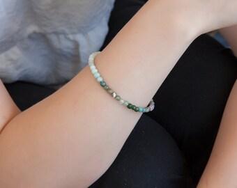 Colorful India Agate Bracelet, Gemstone bracelet, Agate Bracelet, Real Gemstone Bracelet, Green Agate Bracelet, OOAK Bracelet, Zen Jewelry