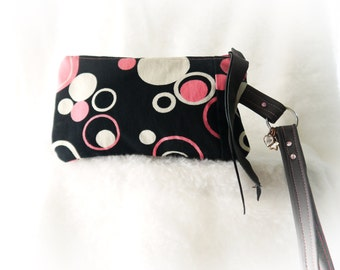Denim Wristlet, Zip Top Wristlet, Pink and Black Wristlet, Upcycled Recycled Repurposed Wristlet Again