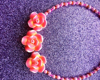 Bright Pink Orange and Yellow Flower Necklace approx 18 inches by JulieDeeleyJewellery on Etsy