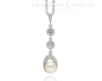 Bridal Pearl Necklace Wedding Jewelry Swarovski Pearls Cubic Zirconia Wedding Necklace, Bridal Jewelry Bridal Pendant Teardrop Astra W24