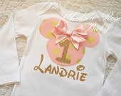 Pink and Gold Minnie Mouse shirt, Minnie Mouse Birthday shirt, Birthday outfit, Disneyland Outfit, 1st Birthday, Minnie tutu