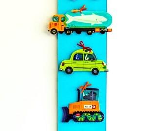 """Blue Cars Wall Art   4 x 24"""""""