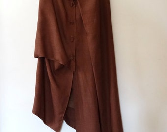 Xiao Studio Saddle Brown Asymmetric/Sculptural Linen Skirt L