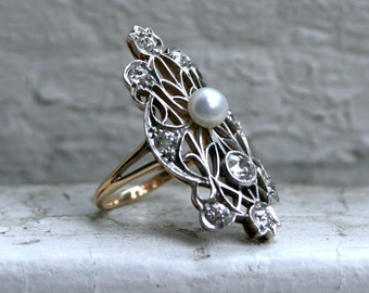 RESERVED - Beautiful Antique 14K Yellow Gold/ Platinum Pearl and Diamond Ring - 1.05ct.