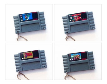 Various Super Nintendo SNES Cartridge Keychain