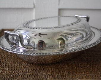 Vintage silver plated chafing bowl, chafing dish, silver covered dish, covered dish, silver casserole dish