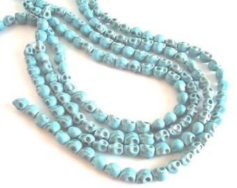 """Turquoise Magnesite Skull Beads - 7x9mm - 16"""" Strand - 40 skulls"""