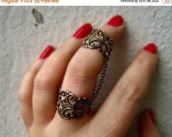 FALL SALE slave ring, armor ring connected rings, ring set, filigree ring, vintage style ring