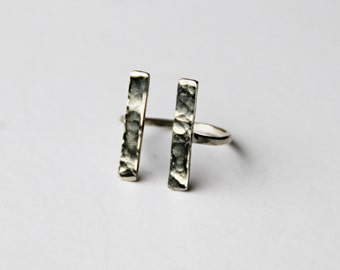 double bar ring sterling silver, silver bar ring, geometric ring, open bar ring, hammered silver ring, stelring silver ring, silver jewelry