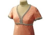 Vintage Maxi Dress Peach Orange Mod Retro Formal Empire Waist Gown