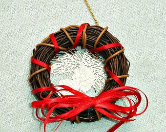 Gold and Red Mini Christmas Yule Wreath