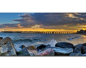 Coney Island, sunset, beach, steeplechase pier, rocks, water, waves, clouds, light, panorama, panoramic, print, epic, unique, evening