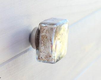 Mercury Glass Knob Silver Square Drawer Pull Knob Cabinet Knob Dresser Knob Rustic LARGE
