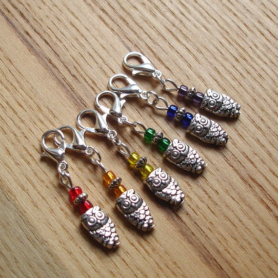 Snag Free Rainbow Owl Crochet Stitch Marker Set of 6 - Crochet Tools - Gift for Crocheters - Cute Stitch Markers, Gift for Nature Lover