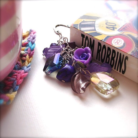 Large Bookmark with Purple Beads - Glass Bead Cluster - Fashion Accessories - Gift for Teacher, Bookworm - Chic Purple Crystal, Skull, Rose