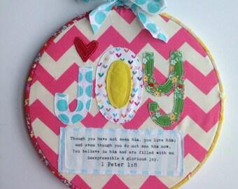 Joy hoop art with verse