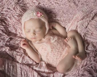 Newborn Romper, Bonnet, Mohair Romper and Bonnet Set, Baby Girl, Pink, Gold, Vintage Coral, Ivory, Lavender, Newborn Photo Prop, RTS