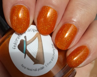 Pepper Potts (mini size & full size)- Orange holographic indie polish by Fedoraharp Lacquer