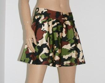 Army Green Camouflage twirl skirt, rave skirt, cheerleader, soft spandex short skirt, free shipping in Australia