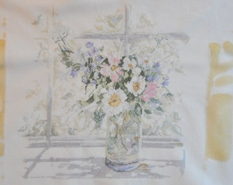 Finished / Completed Cross Stitch - Lanarte -  Flowers in Windowpane (33877) crossstitch counted cross stitch