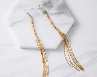 Long fringe threader earrings - long chain earrings - party earrings