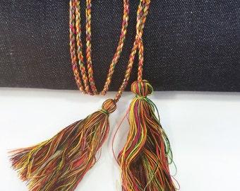 Tassels Belt , Boho Hippie belt with Two Tassels 2 pcs