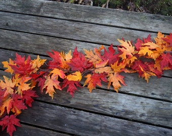 Autumn Reception Decor, Fall Leaves Garland, 6Ft