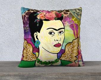 Large Frida Kahlo with Wings, Smiling Moon Giraffe Print Velveteen Pillow Cushion Cover, Sofa Cushion, Funky Cushion,Art Pillow,