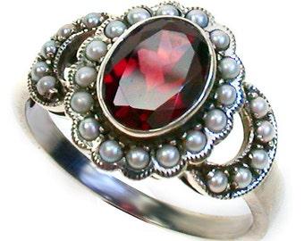 Platinum Ring with Garnet & Pearl,  PT900, Vintage Engagement Ring, Women's Garnet Pearl Ring, Antique Garnet Pearl Ring, Custom R42