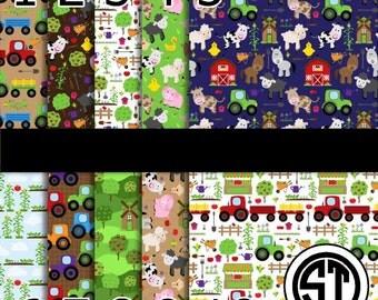 Farm Animals printed vinyl or heat transfer vinyl (iron on) You choose size 6x6, 8.5x11, 12x12, 12x24 or 12x36