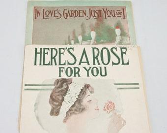 Vintage Sheet Music, 1916 Sheet Music, Romantic  Art Nouveau Sheet Music
