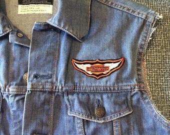 Vintage 1970s Denim Biker Vest with Patches Size Midium, Harley Davidson