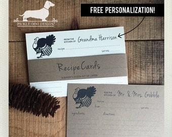 Turkey. Free Personalization. A Baker's Dozen (Qty 13) Set of Recipe Cards -- (3x5, 4x6, Custom, Farm, Wedding Gift, Bridal Shower Favor)