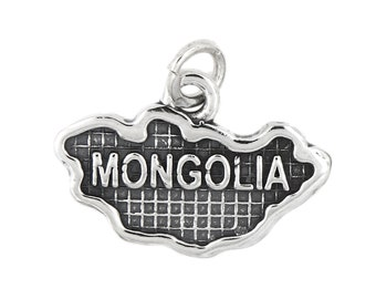 Sterling Silver Map of Mongolia Travel Charm