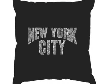 Throw Pillow Cover - Word Art - NYC NEIGHBORHOODS