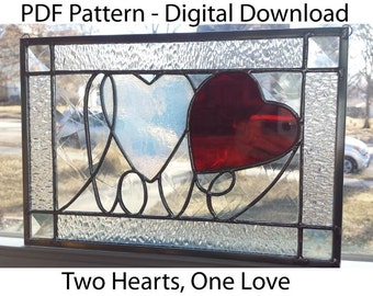 Two Hearts, One Love Stained Glass PDF Pattern