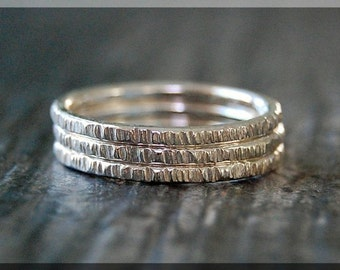 Set of 3 Sterling Silver Twig Ring, Bark Texture Ring, Branch Stacking Ring, Sterling Silver Stackable Ring, Woodland Ring, Nature inspired