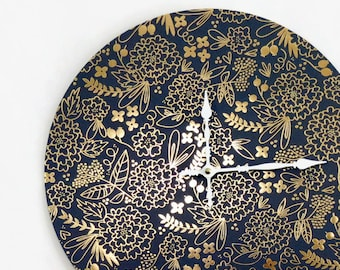 Unique Wall Clock, Blue and Gold Floral Decor, Bedroom Clock, Home and Living, Home Decor, Clocks