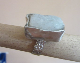 Silver uncut Moonstone Ring - Rough Moonstone ring