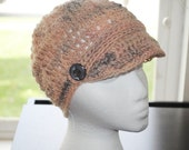 Handspun single corriedale 'undecided now'  peach and gray crochet adult brim hat