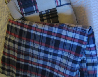 1970's Fabric Yardage 4 Yards of 45 In Wide Patchwork Print ? Cotton 3 Yards of 45 In Wide Red and Blue Plaid ? Cotton Retro Sewing Supply