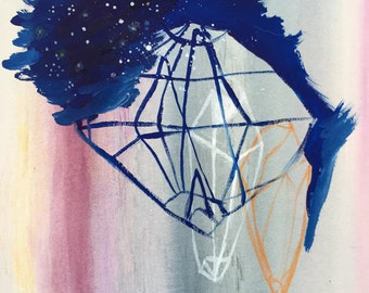 Crystal Art, geometric painting, abstract line drawing, mixed media on paper, blue, night sky