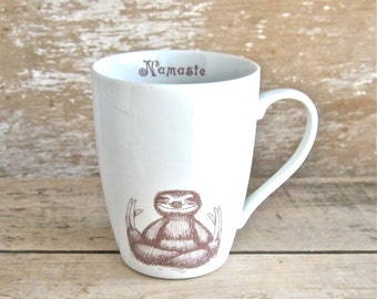 Mug, Namaste Baby Sloths, Yoga Tea cup Sloth Meditation Teacup, 14 oz Coffee Mug, Porcelain, Ready to Ship with Love