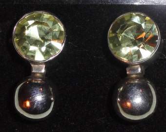 Marked Stamped 925 Mexico Faceted Light Yellow/ Citrine & Sterling Silver Ball Drop Pierced Earrings