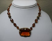 Art Deco Czech Amber Glass Filigree Bead Necklace Choker Faceted Signed